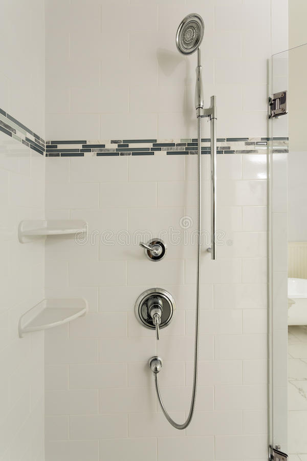 Large Shower In An Upscale Home Stock Photo