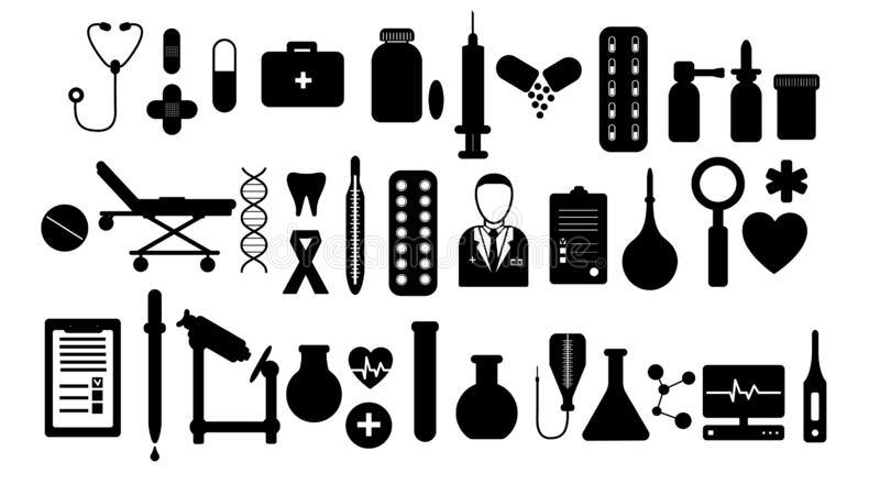 A large simple set of items on medical subjects, pills and tools of a doctor thermometers syringes flasks flasks medication royalty free illustration