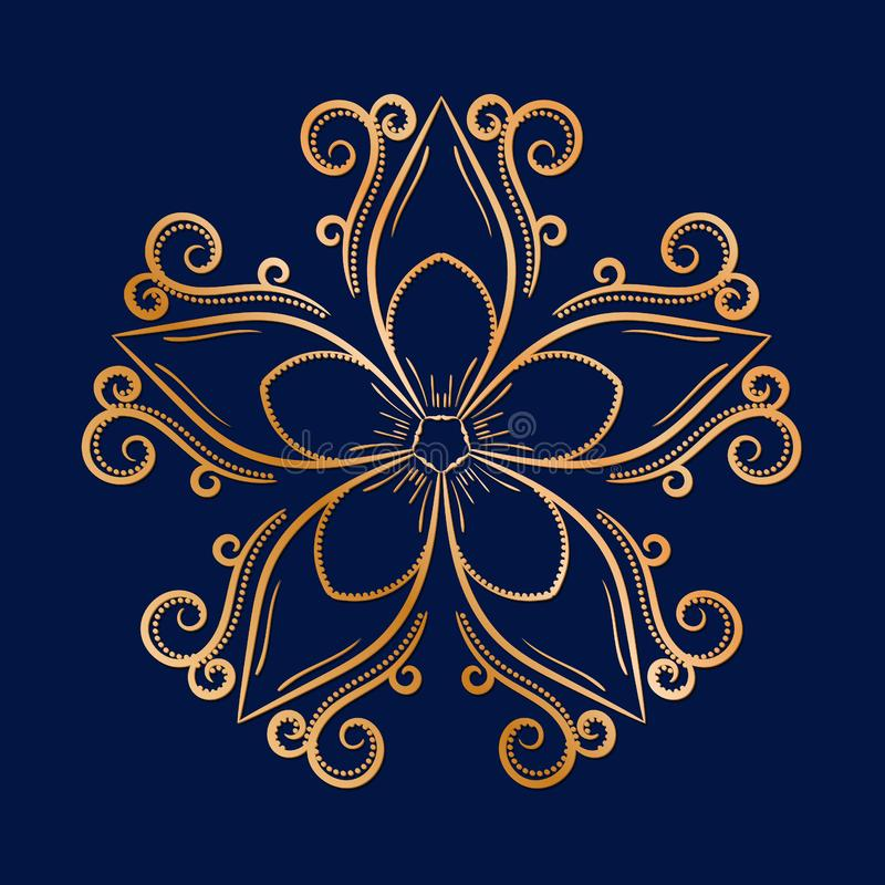 Large single flower. Golden ornament on blue vector illustration