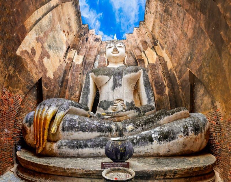 Sitting Budha in Wat Si Chum temple in Sukhothai, Thailand royalty free stock photos