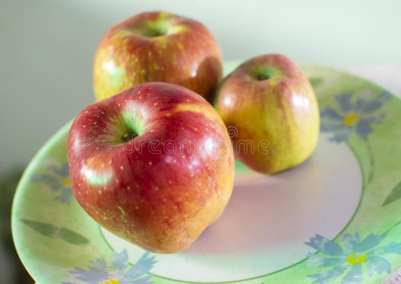 Large and Small Apple the Plate royalty free stock photography