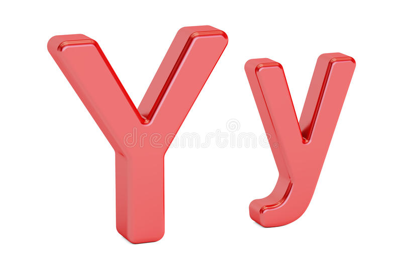 Large and small red letter Y, 3D rendering stock illustration