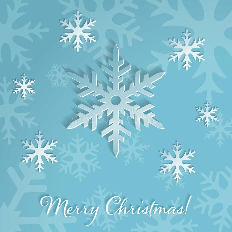 Large snowflakes on the light blue background with falling snow. Merry Christmas or New Year card. stock illustration
