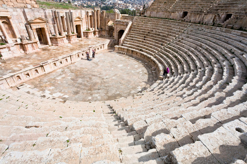 The Large South Theatre - in antique town Jerash royalty free stock photos