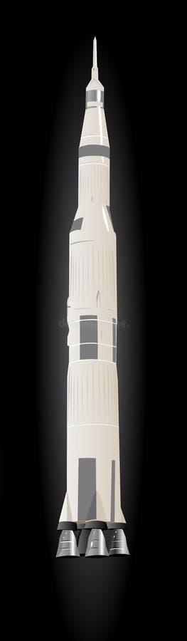 Large Space Rocket Saturn-5. Illustration Over Black Space stock illustration