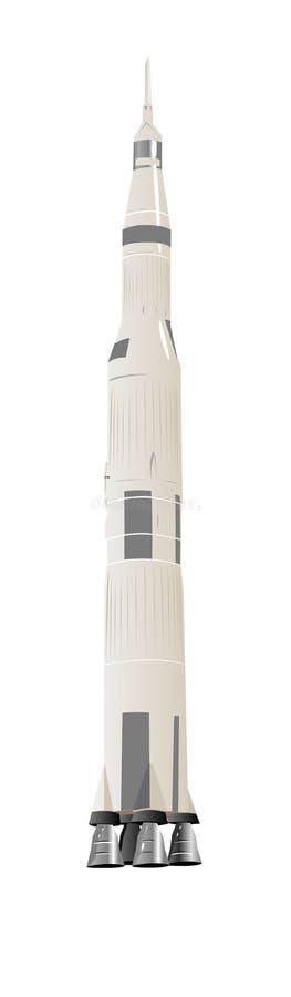 Large Space Rocket Saturn-5. Illustration Over White stock illustration