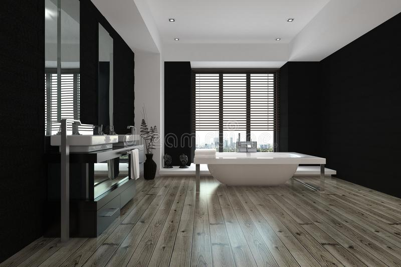 Large spacious black and white bathroom interior royalty free stock images