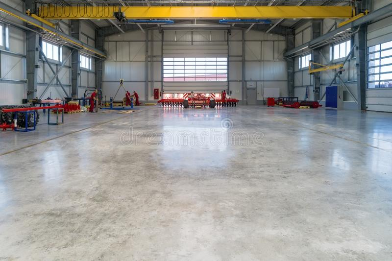 Large, spacious and light assembly shop. stock photos