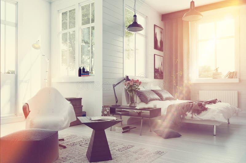 Large spacious modern bedroom interior stock illustration