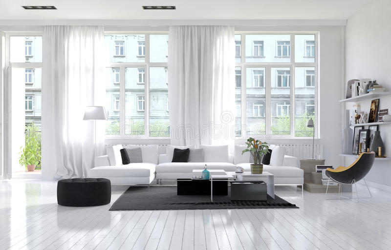 Large spacious modern white living room stock illustration