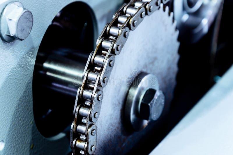 Large cogwheel, mechanical chain drive stock photos