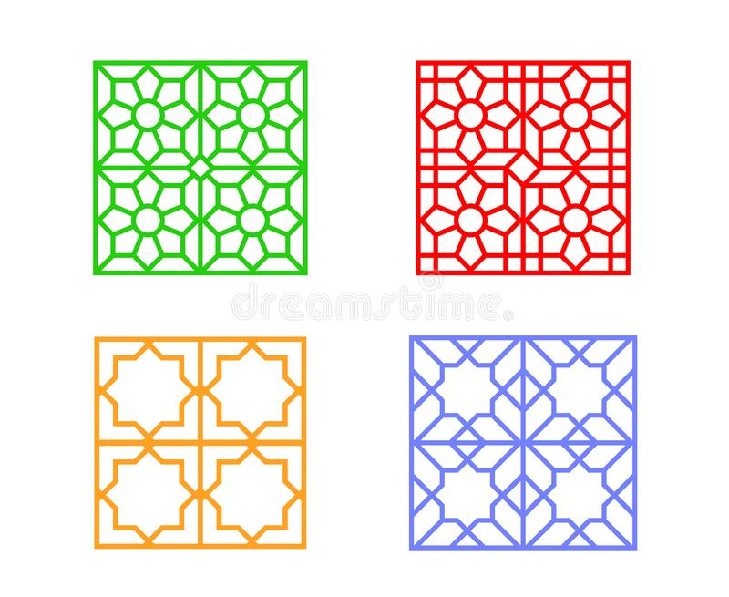Large Square Window Frame With Islamic Pattern Stock Vector ...