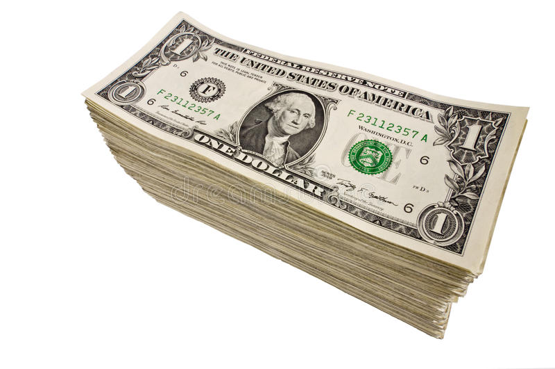 Large Stack of Dollar Bills royalty free stock photos
