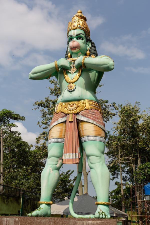Large statue of Hanuman Hindhu Deity. Standing 15 metres high near the entrance to Ramayana Cave, part of the Batu Cave site, Gombok, Malaysia royalty free stock images