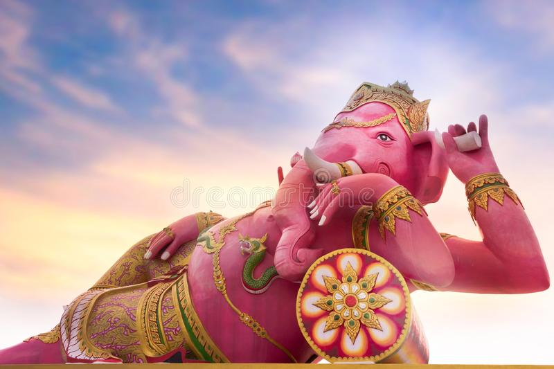 A large statue of pink Ganesha is god of Hindu which one of the best-known and most worshipped deities in the Hindu pantheon. royalty free stock photography