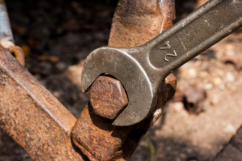 Steel spanner for screws size 24 royalty free stock photo