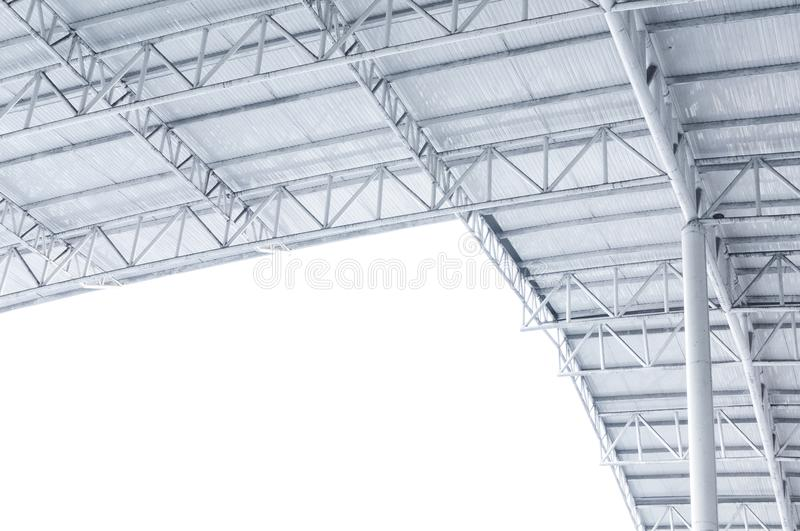 Large steel structure truss, roof frame and metal sheet in building. Construction site royalty free stock images