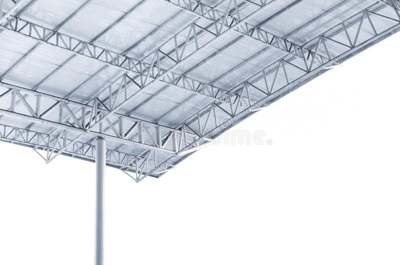 Large steel structure truss, roof frame and metal sheet in building. Construction site stock photos