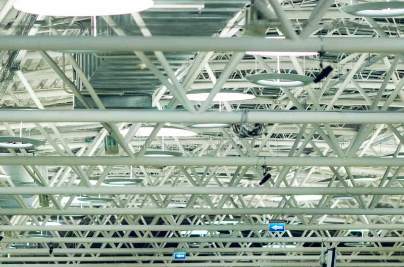 Large steel truss structure, roof frame at the airport.  stock photos