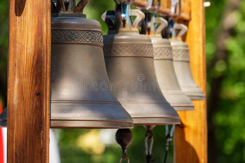 Large street bells are set outside. For the holiday royalty free stock photos