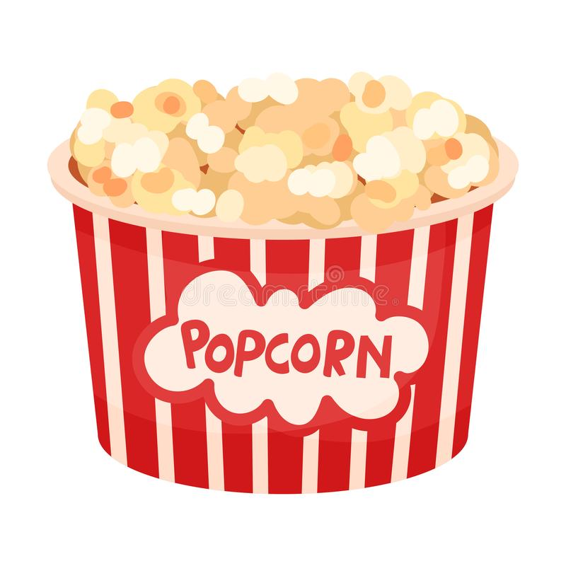 Large bucket of popcorn. Vector illustration on a white background. Large striped red-white paper bucket of popcorn. Vector illustration on a white background vector illustration