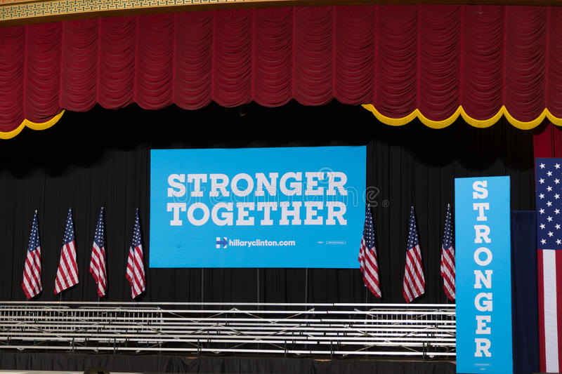 Large Stronger Together sign. Harrisburg, PA, USA - October 4, 2016: Large Stronger Together sign at the rally for Presidential candidate Hillary Clinton stock image