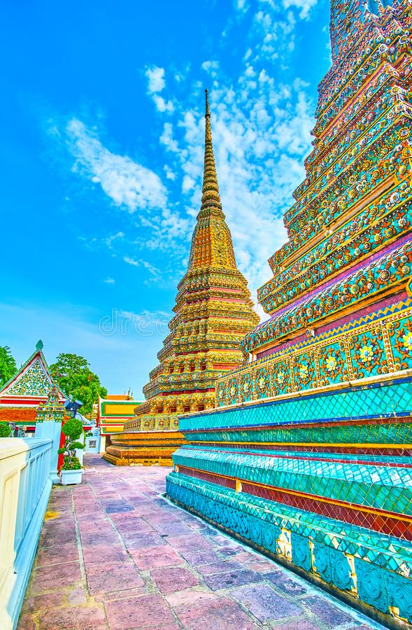 The big stupas of Phra Maha Chedi shrine, Wat Pho, Bangkok, Thailand stock photos