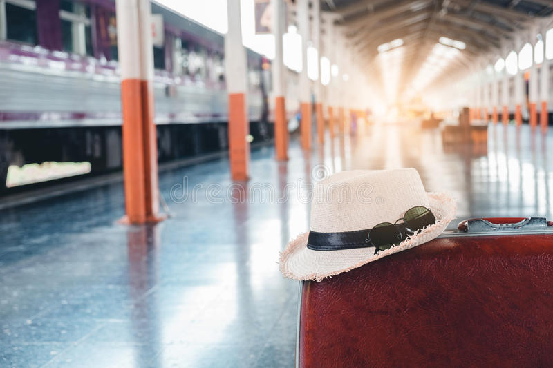 Download Large Suitcases Rucksacks And Travel Bag In Train Station Stock Image - Image of object, holiday: 96061509