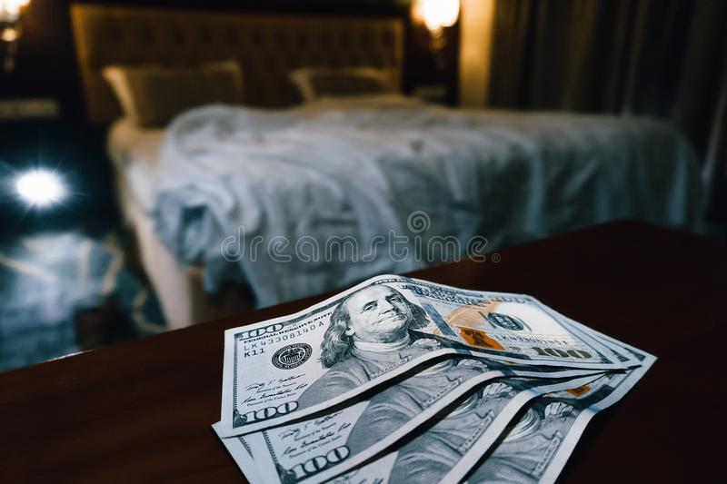 a large sum of us dollars on the table royalty free stock images