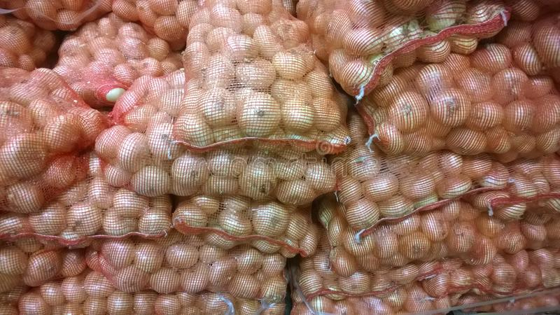 Large Sweet Yellow Spanish Onions. Ready for the kitchen stock image