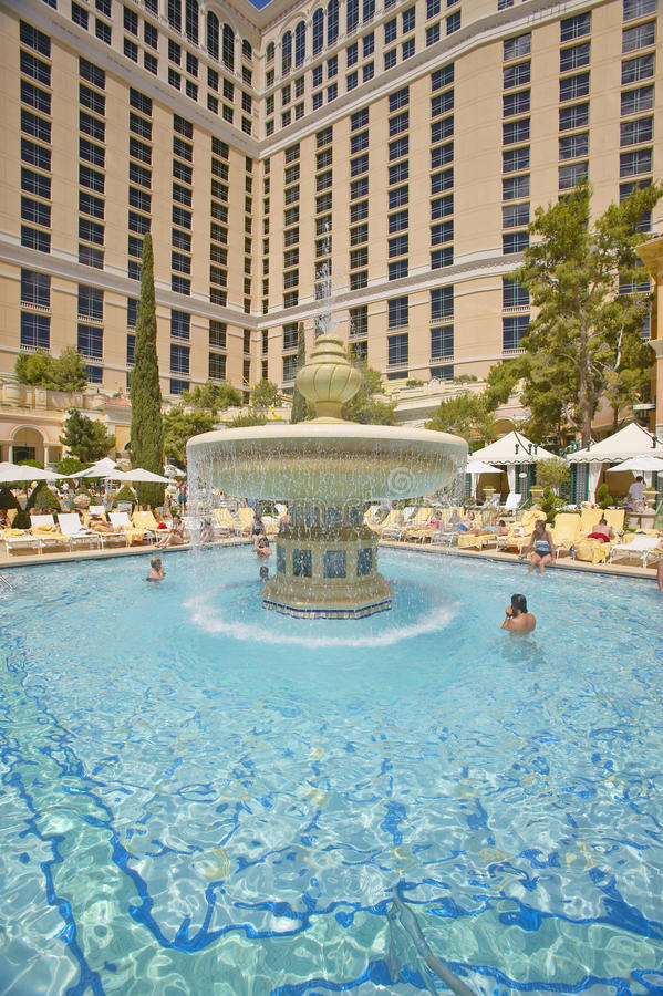 Large Swimming Pool With Swimmers At Bellagio Casino In Las Vegas Nv Editorial Photography
