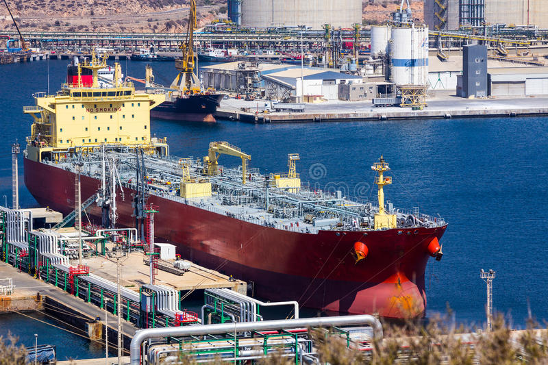 Large tankers unloading crude oil royalty free stock image