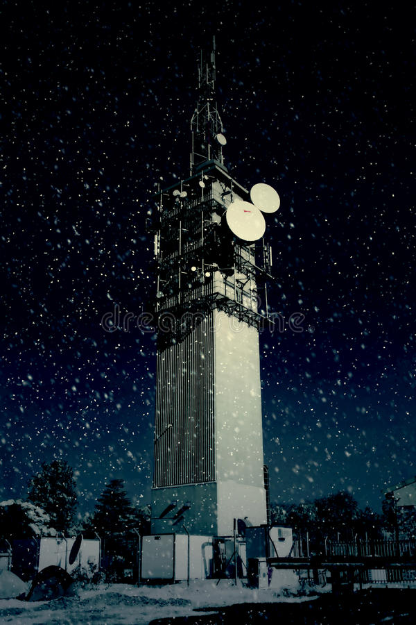 Download Large Telecommunications Tower In Snow Stock Image - Image: 32308231