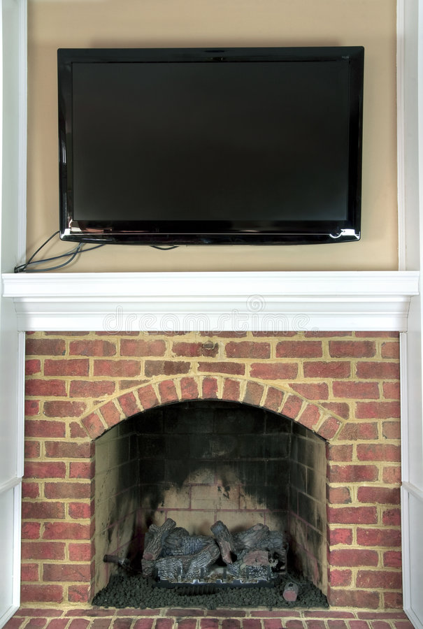 Free Large Television Over Fireplace Stock Photos - 8259003