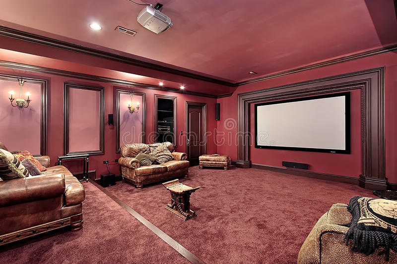 Large theater in luxury home stock photos