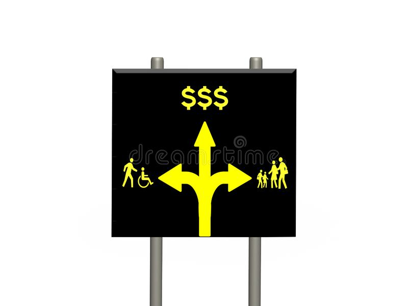 Large three directional street sign on twin signposts and white background. Profit ahead of people and community concept large black street sign on twin stock illustration