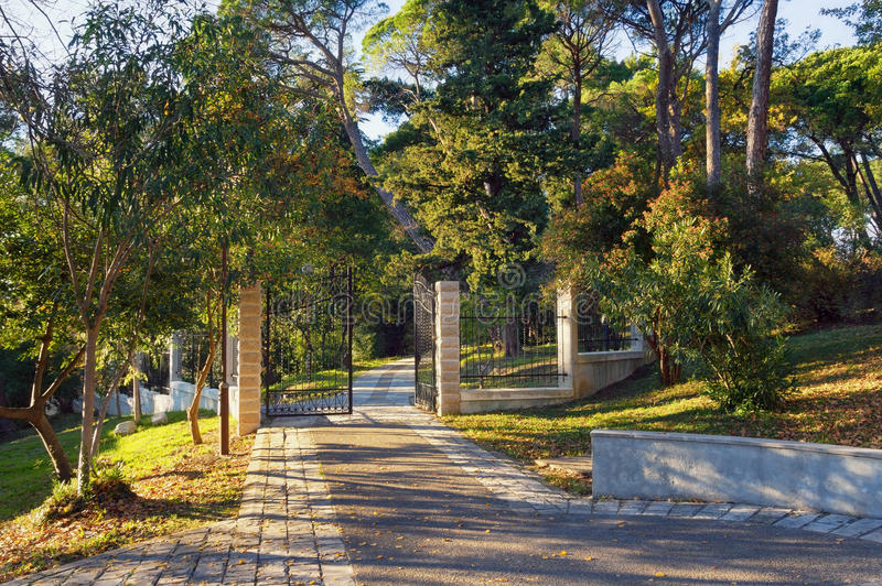 Large Town Park of Tivat city, Montenegro stock image