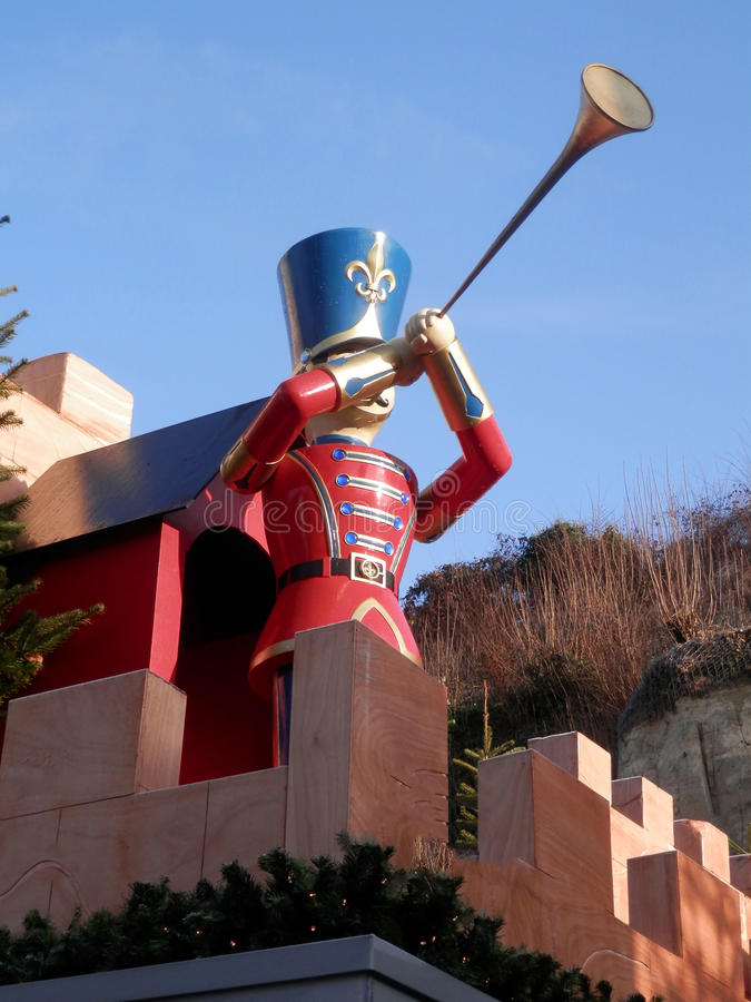 Large Toy Soldier. Blowing large slim trumpet royalty free stock photos