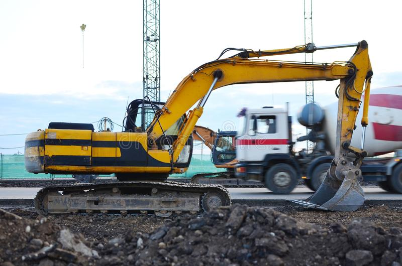 Large tracked excavator on a construction site. royalty free stock image