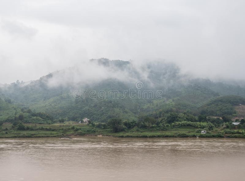 Large tranquil river in the valley of the high mountain. royalty free stock images