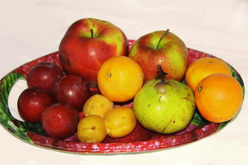 Large tray with a variety of fruits royalty free stock photos