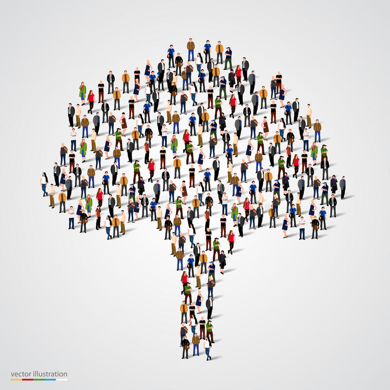 Large tree formed out of people stock illustration
