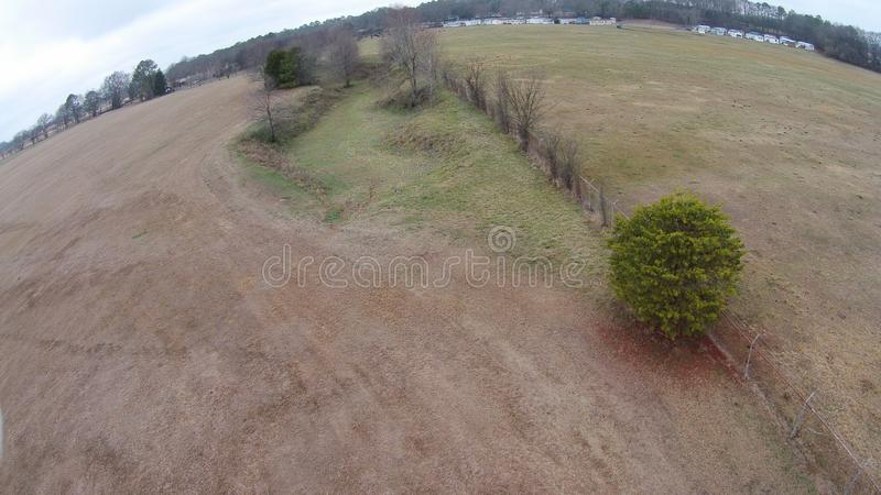 Large trench that surrounds the Etowah Mounds. Etowah Indian Mounds are prehistoric archaeological site located on the bank of Etowah river in the Bartow royalty free stock images
