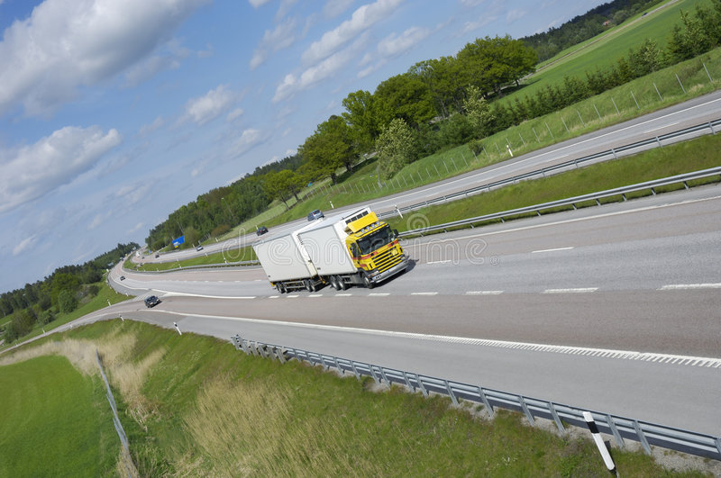 Large truck on highway stock photos
