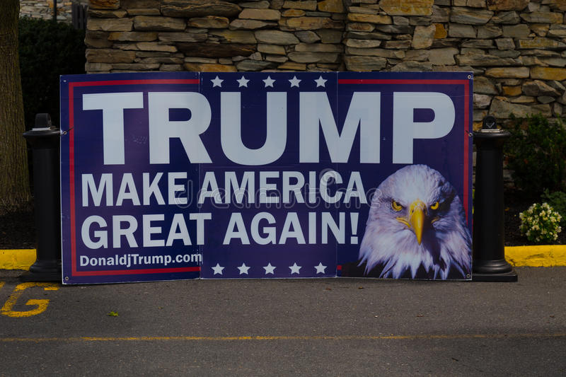 Large Trump Campaign Sign. Lancaster, PA - August 9, 2016: Signs at a rally during GOP Vice Presidential candidate Gov. Mike Pence appearance in Lancaster County royalty free stock images