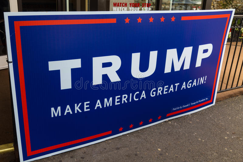 Large Trump Sign at Political Rally. Lancaster, PA - August 9, 2016: Signs at a rally during GOP Vice Presidential candidate Gov. Mike Pence appearance in stock photography