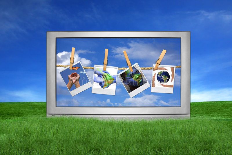Download Large TV Outside With Global Issues On Screen Stock Image - Image: 6581073