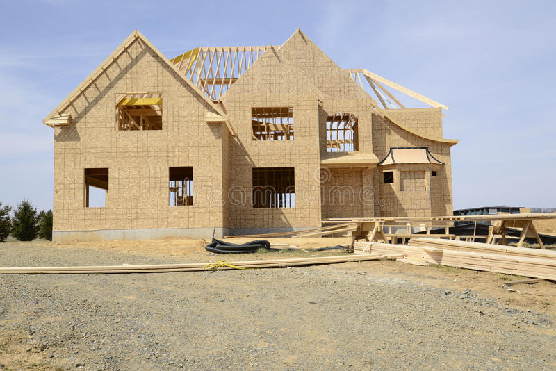 Large two story family home under construction royalty free stock photos