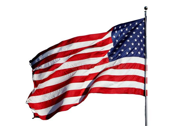 Large U.S. Flag isolated on white stock image