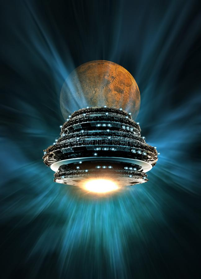 Large UFO and moon. Large UFO like spaceship in orbit with Earth moon in background stock illustration